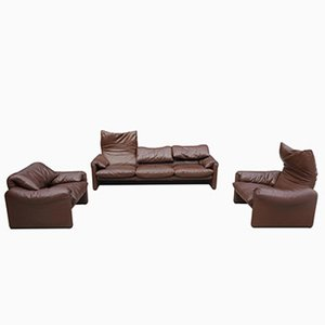 Leather Maralunga Sofa Set by Vico Magistretti for Cassina, 1970s, Set of 3