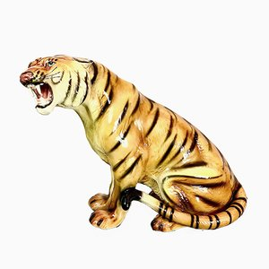 Vintage Regency Style Ceramic Tiger, 1970s