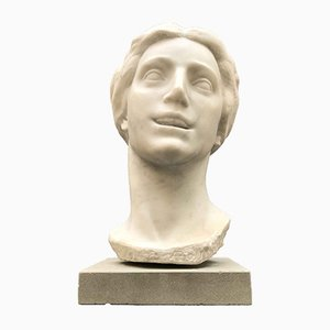 White Marble Bust of Woman by Aurelio Bossi, 1930s