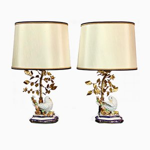 Vintage Handmade Ceramic and Gold-Plated Table Lamps by Guilia Mangani for limoges, Set of 2