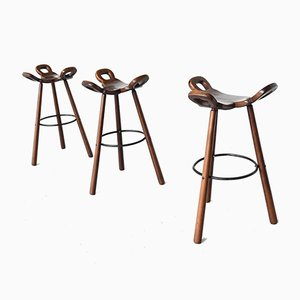 Brutalist Marbella Barstools from Confonorm, Spain, 1970s, Set of 3