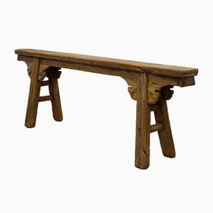 Antique Milking Bench with Hand-Carved Ornaments
