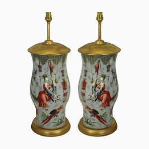 Vintage Orientalist Hand-Painted Table Lamps, Set of 2