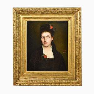 Peinture à l'Huile Portrait de Femme à Roses par A. Dreux, 1878