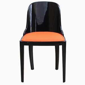 Art Deco Chair in Ebonized Wood & Orange Fabric, France, 1930s