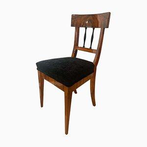 Deutscher Biedermeier Nussholz Furnier Sessel mit Samtbezug, 1820er