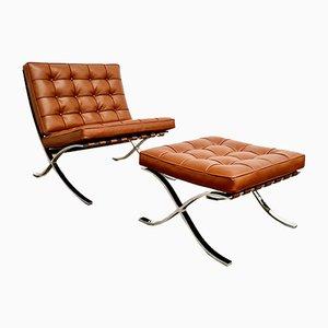 Barcelona Sessel & Fußhocker von Mies van der Rohe für Knoll International