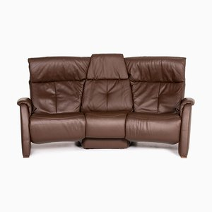Dark Brown Leather Trapezoid 3-Seat Relax Function Sofa from Himolla