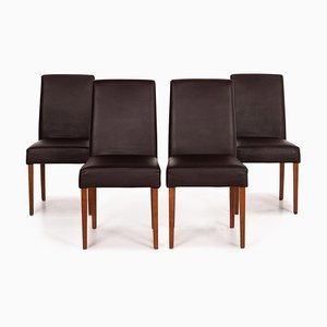 Dark Brown Leather Dining Chairs from Musterring, Set of 4
