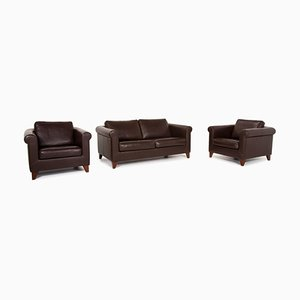 Dunkelbraunes Leder Amadeo Sofa Set von Machalke, 2er Set