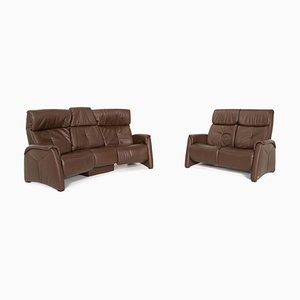 Dark Brown Leather Trapeze 3-Seat and 2-Seat Sofas & from Himolla, Set of 2