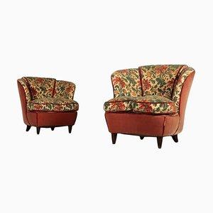 Italienischer Feder- und Samt Sessel, 1950er