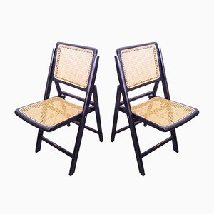 Ebonized Gilles Cane Folding Chairs, 1960s, Set of 2