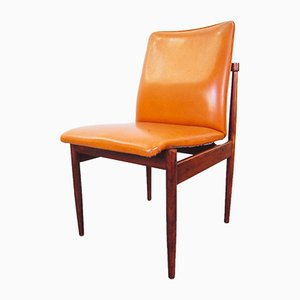 Rosewood Thereca Dining Chairs in Orange Leatherette, 1960s, Set of 4