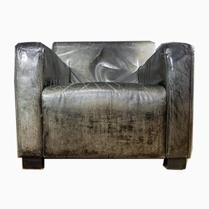 Vintage Black-Green Leather Armchair