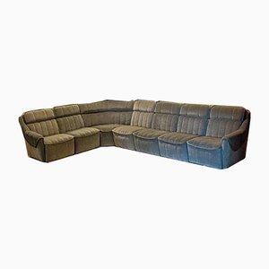 Canapé d'Angle Modulaire Vintage en Velours Gris, 1970s, Set de 7