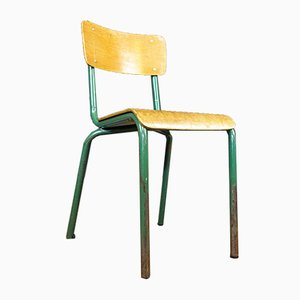 French Industrial School Chair with Blue Iron Frame, 1960s