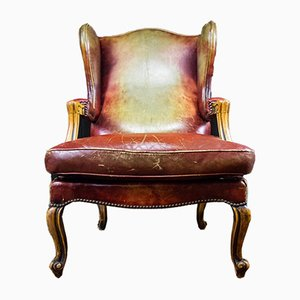 Vintage Leather Armchair with Wooden Ornamental Handrails