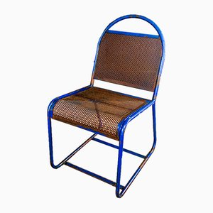 Industrial Weathered Blue Iron Chair, 1960s