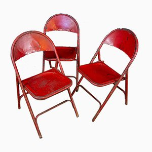 Industrial Bangkok Temple Red Weathered Folding Chair, 1960s