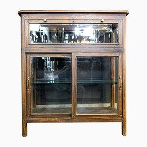 Antique Brown Low Showcase with Swing Door