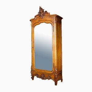 Antiker französischer 1-türiger Schrank aus Nussholz mit Spiegel, 1890er