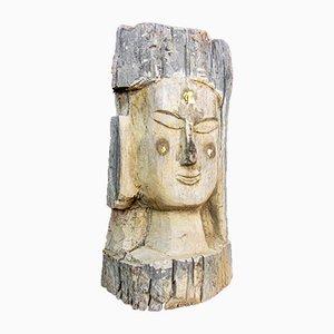 Wooden Wabi Sabi Buddha Head from Temple in Burma
