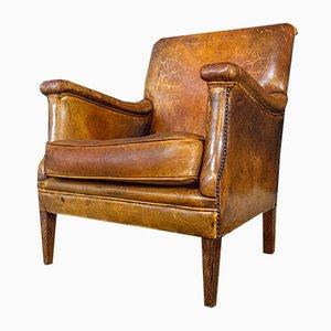 Poltrona vintage in pelle marrone, anni '50