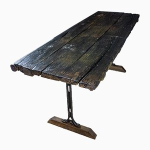 Antique Industrial Wooden Table with Steel Legs