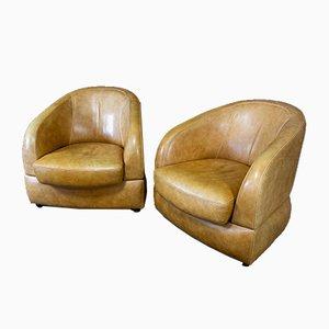 Vintage Beige Leather Armchair
