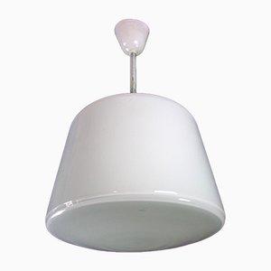 Vintage White Milk Glass Ceiling Lamp, 1950s