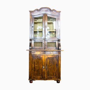 French Brown Brocante 2-Piece Kitchen Cupboard, 1920s