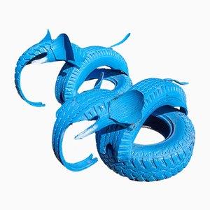 Blue Elephant Car Tire Outdoor Toy
