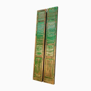 French Chateau Brocante Turquoise Wooden Shutters, 1920s, Set of 2
