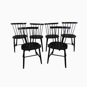 Schwarze Stablehnen Esszimmerstühle J46 von Poul M. Volther für FDB Mobler, 6er Set