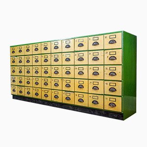 French Industrial Green Dresser with 50 Drawers, 1930s