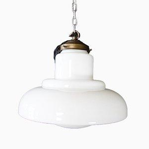 Art Deco White Milk Glass Lamp, 1930s