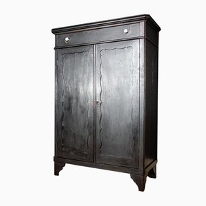 Antique Dutch Black Wardrobe, 1920s