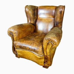Vintage Weathered Brown Leather Armchair