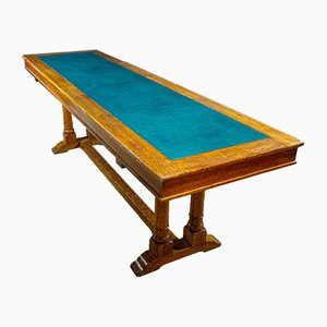Antique Library Table from Oxford with Inlaid Leather Top, 1900s