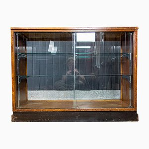 Vintage Brown Wood Showcase Counter, 1950s