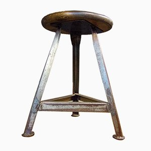 Industrial Iron Low Stool with Wooden Seat