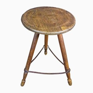 French Wooden Stool with Forged Crossbars