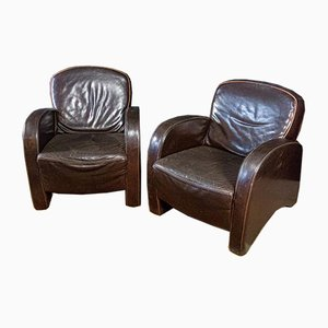 Vintage Dark Leather Armchair