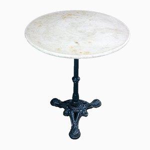 Antiker Bistro Tisch mit Fuß aus Gusseisen und Marmorplatte