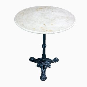 Antique Bistro Table with Cast Iron Leg and Marble Top