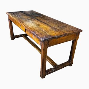 Antique French Oak Farmers Table with Drawers, 1850s