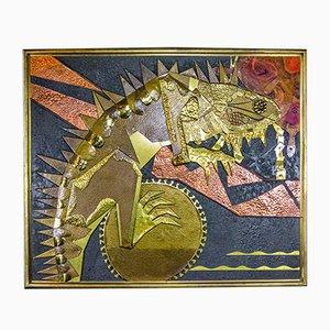 Iguana grande moderna de pintura artística en dorado y negro