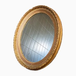 Antique Oval Mirror with Gold List