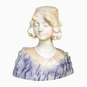 Antiques Alabaster Bust Sculpture Lady, 1880s